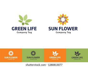 Green flower logo. Sunflower emblem, eco-friendly, bright, natural, abstract. health