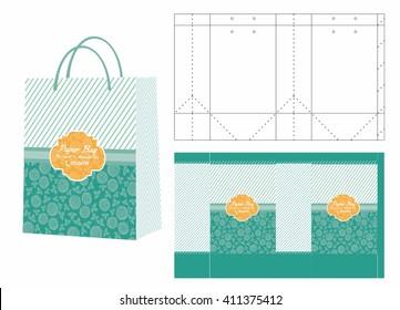 Green Flower Shopping Bag