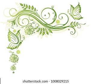 Green flowers with butterflies. Spring time.