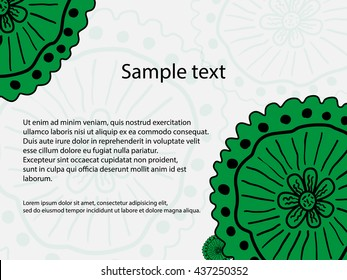 Green flowers on a white background. Floral leaflet or invitations. Vector.