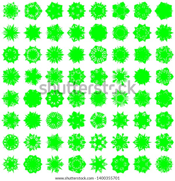 Green Flowers / Pseudo-Snowflakes on white background. Sharp set of 64 items. 5 (five) angles. - Vector