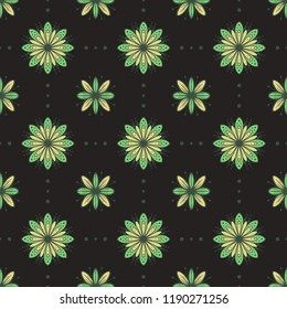 Green flowers vector seamless pattern on dark background