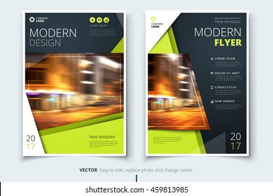 Green Flyer design. Corporate business template for brochure, annual report, catalog, magazine. Layout with bright color and abstract city photo placeholder. Leaflet, poster, flier or cover concept
