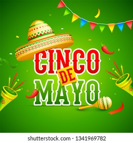 green flyer or poster design decorated with colorful bunting, maracas instrument and sombrero hat for Cinco De Mayo party celebration.