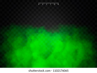 Green Fog or smoke color isolated transparent special effect. White vector cloudiness, mist smog background. illustration