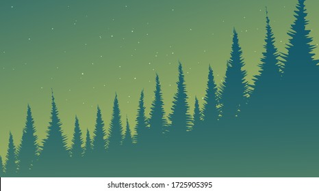 Green Foggy Pine Forest,landscape background,imagination concept design.