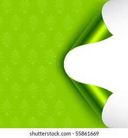 Green foiled backed curled corners. Vector illustration.