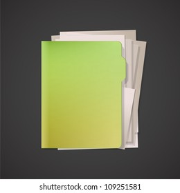 Green folder with white paper. Vector design.