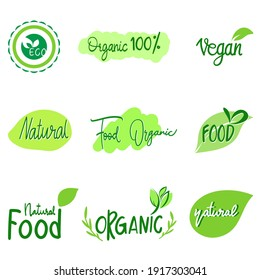 Green food fresh and organic set isolated on white background. Vector Illustration EPS 10
