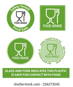 Green Food Grade Plastic symbol, isolated. (non toxic plastic icon)