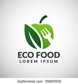 Green food logo. Eco food icon. Diet icon.