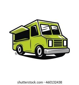 Green food truck illustration vector