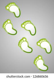 Green footprints on grey background. Vector illustration.