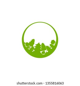 Green forest  in circle isolated on white. organic symbol. wood and trees logo. Natural, fresh, eco logo. Wild nature.  environment day logo. Earth day or Arbor day icon. Vector illustration.