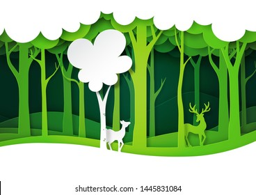 Green forest and deer wildlife with nature landscape background layers paper art style.Ecology and environment conservation concept.Vector illustration.