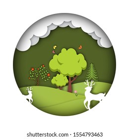 Green forest with deers wildlife. Environment in paper art design. Vector illustration.