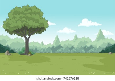 Green forest with grass and trees. Nature landscape.