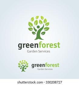 Green Forest, People and Tree Logo Template.
