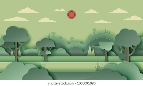 Green forest silhouette and mountains landscape abstract background.Nature and environment conservation concept paper art design.Vector illustration.