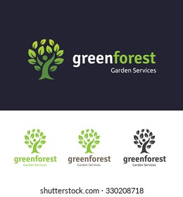 Green Forest, Tree Logo Template.