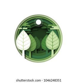 Green forest tree plant.Nature and eco friendly of ecology and environment conservation concept paper art style design.Vector illustration.