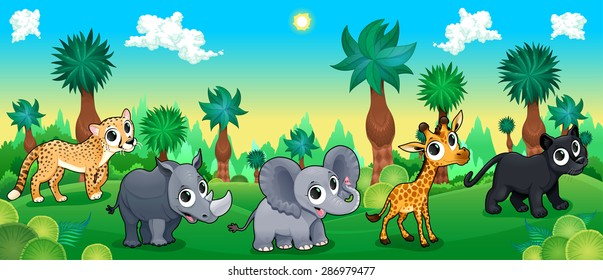 Green forest with wild animals. Vector cartoon illustration.