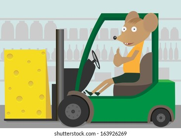 A Green Forklift Truck and mouse carrying a cheese