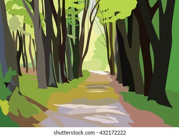 Green Forrest Trees Vector. Forrest woods background with perspective walking path road