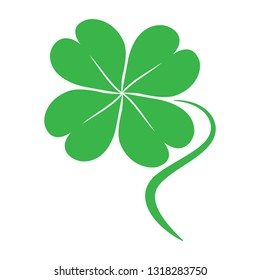 Green Four leaf clover icon for St. Patrick's Day