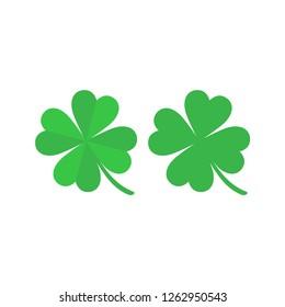 Green four leaf clover simple cartoon. Colorful four leaf clover vector icon set.