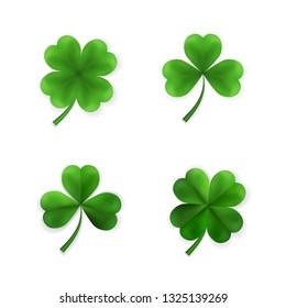 Green Four and Tree Leaf Clovers. Irish Lucky and success symbols. Vector illustration.