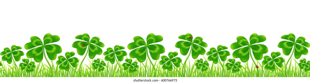 Green four-leaf clovers field, Saint Patrick's Day vector seamless border isolated on white background