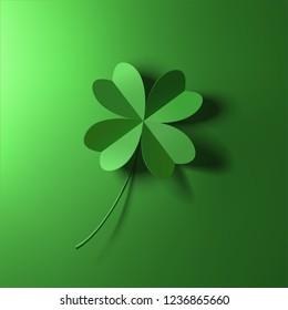 green four-leaf lucky clover leaf vector illustration
