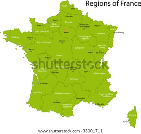France Map With Regions.Green France Map Regions Main Cities Stock Vector Royalty Free