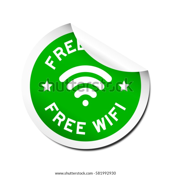 Green free wifi with signal icon sticker with peel off on white background