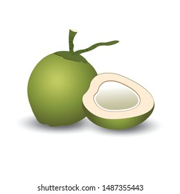green   fresh coconut  and  halves
