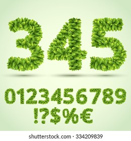 Green Fresh Leaves Ecology Font, Number and Symbols part. Vector character set