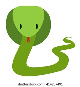 Green friendly cobra snake in flat style, vector