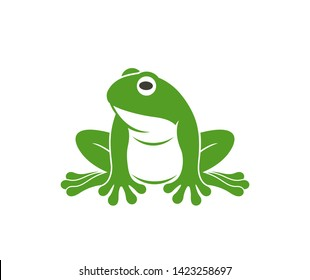 Green frog. Abstract frog on white background