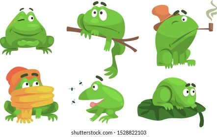 Green Frog Cartoon Character of Different Activities Set, Funny Amphibian Animal with Various Emotions Vector Illustration