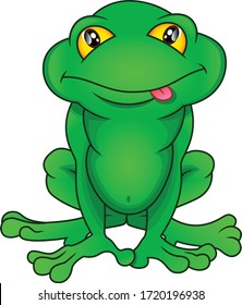 Green frog cartoon on white background