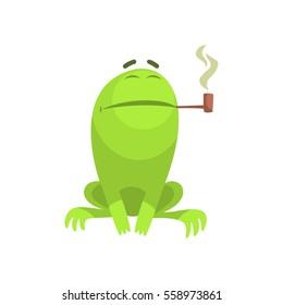 Green Frog Funny Character Smoking A Long Pipe Childish Cartoon Illustration