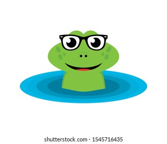 Green frog with glasses came out the water
