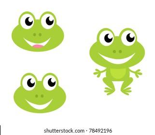 Green frog icon collection. Vector cartoon Illustration.