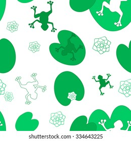 green frog jump on the leaves of lily. Endless seamless vector pattern.