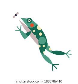 Green frog jumping to catch insect. Icon with stylized geometric aquatic amphibian, dotted toad hunting for food.