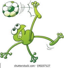 Green frog jumping, throwing the body up into the air and making a shearing movement with the legs to execute a bicycle kick with a soccer ball while clenching its teeth and looking fully determined