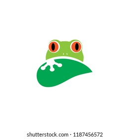 "A green frog logo with a leaf, inspired by the australian ""Litoria chloris"", commonly known as the red-eyed tree frog or orange-eyed tree frog"