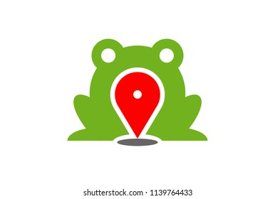 green frog map location logo icon