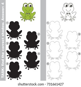 Green Frog Mom and her baby to find the correct shadow, the matching educational kid game to compare and connect objects and their true shadows, simple gaming level for preschool kids.